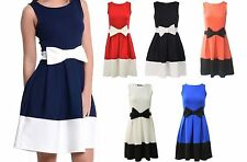 Womens Sleeveless Bow Front Skater Flared Dress Ladies Mini Party Plus Size