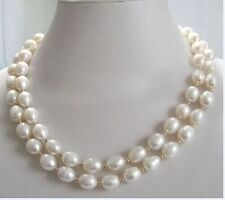 36 INCH HUGE AAA+ 11-13MM SOUTH SEA WHITE PEARL NECKLACE 14K GOLD CLASP
