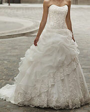 A-Line White Strapless Organza Lace up Wedding Dress Bridal Gown Custom Size