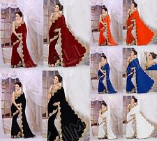 New Indian Ethnic Wear Sari/Saree For Women, Sari With Golden Big Trim 5 Colour