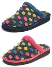 Womens Ladies Lightweight Fur Knitted Mules Polka Dot Slippers Sleepers Size 3-9