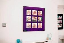 """PURPLE  ACRYLIC magnetic 28.5"""" SQUARE multi picture FRAME 9X 6x6 Instagram PHOTO"""