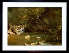 PAINTING HUET FRENCH WOODLAND STREAM OLD MASTER FRAMED PRINT F12X5188