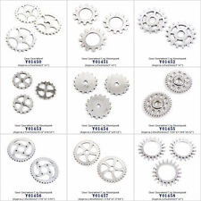 Antique Silver Tone Jewelry Making Charms Findings Gear Gearwheel Cog Steampunk