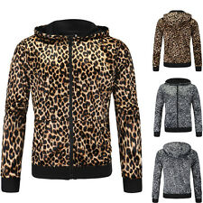 Stylish Fashion Mens Slim Fit Sexy Leopard Pattern Hoodies Coat Hodded Jacket