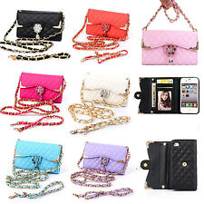 Diamond PU Leather Flip Card Holder Wallet Phone Case Cover For Samsung Galaxy