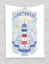 Vintage Hand-Drawn Styled Lighthouse Art Print Typography Wall Hanging Tapestry