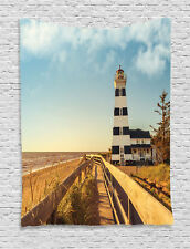 Sandy Coastal Beachside with Lighthouse Wooden Fence Print Wall Hanging Tapestry