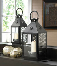 "LARGE & SMALL SPRIGHTLY CANDLE LANTERNS - 16 1/4"" & 14 1/4"" HIGH - IRON & GLASS"