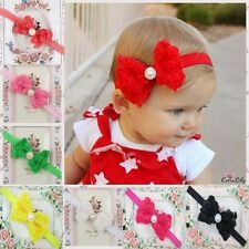 Baby/Girl/Kid Pearl Headband Rose Bow Lace Flower Elastic Hairband Novely