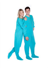 Big Feet PJs Turquoise Jersey Knit Adult Sleeper Footed Pajamas w/ Rear Flap