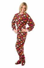 Brown Fleece w/ Pink Hearts Womens Footed Pajamas Onesie with Drop seat