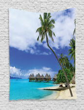Bungalow on Tropical Resort Bora Bora Island Pacific Ocean Wall Hanging Tapestry