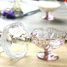 Party Ice Cream Bowls Cup Footed  Pink Clear Glass Bowls Dessert Fruit Dishes 4""