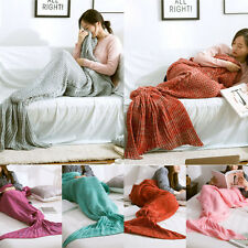 Super Soft Hand Crocheted Mermaid Tail Blanket Sofa Blanket Sleeping Bag DIY
