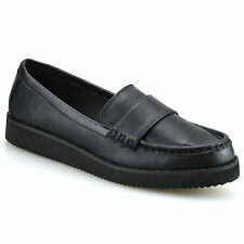 Ladies Womens Girls Flat Slip On Creepers Work School Pumps Loafers Shoes Size