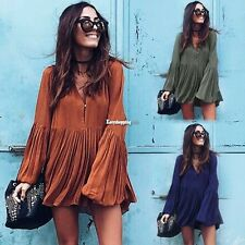 Sexy Women Pleated V Neck Long Sleeve Evening Party Long Top Blouse Mini Dress
