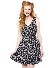 Sourpuss Skulls Gauzy Dress Black Smocked Waist Gothic Goth Punk Skull Print