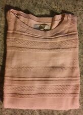 NWT Ann Taylor LOFT Textured Stripe Sweater Rose M XL