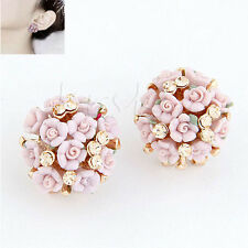 New Fashion Women Crystal Rhinestone Ear Stud Daisy Flower Earrings Jewelry Gift