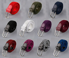 PS Unisex Wax Rope Weave Strap w/ Pin Buckle Casual Style Belt Strap Waistband