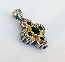 ANTIQUE GREEK BYZANTINE CROSS PENDANT EMERALDS CZ 925 STERLING SILVER C 12320