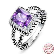 Emerald Cut 100% Solid 925 Sterling Silver Amethyst White Topaz Rings Sz 6 7 8 9
