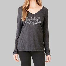 Womens Long Sleeve Tops - T Shirt, VNeck Shirts, Henna Lotus Flower, Bella Flowy