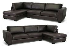 NEW DARK BROWN LEATHER MODERN SECTIONAL LEFT OR RIGHT FACING CHAISE SOFA SET