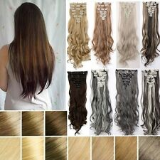 100% Natural Remy Clip in Hair Extensions 8 Pieces Full Head Long As Human  H817