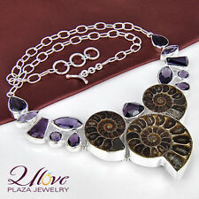 """925 Sterling Silver Classic Natural Ammonite Fossil Gemstone Necklace 20"""" New"""