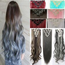 Real Natural Clip in Hair Extensions 8 Pieces Full Head Blonde As Human  H818