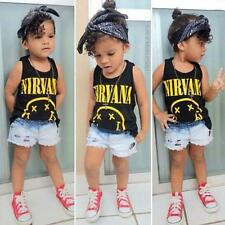 Cute Toddler Kids Cotton T-Shirt Sleeveless Printed Baby Girls Tee Blouse Tops