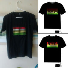 Sound Activated Light Up Flashing Rock Disco Equalizer LED T-Shirt Top Dainty