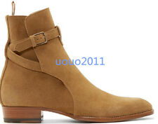 Retro Men Cowboy Ankle Boot Pointed Toe Suede Combat Motor Buckle High Top Shoes
