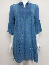 NWT Johnny Was Collared Button Front Eyelet Tunic - L - JW15170816
