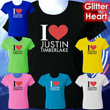 I LOVE JUSTIN TIMBERLAKE T-SHIRT TEE – RED GLITTER HEART – LADIES & TEENS SIZES