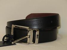 Nwt CAVALLI CLASS Mens Belt Black and Brown Leather Reversible Logo Fashion Belt