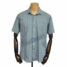 Green Tartan Plaid Check Button Down Casual Shirt Short Sleeve GC13S Size S-2XL
