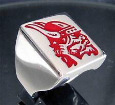 RECTANGLE SILVER SIGNET RING VIKING LEADER WITH HELMET RED ENAMEL ANY SIZE