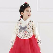 Hanbok Girl Korean Dress traditional Korea Baby 1st birthday Party Ivory Red