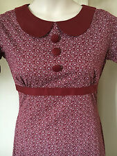 RUN & FLY 60s Mod Peter Pan Collar Burgundy Paisley Dress Twiggy Mary Quant /A21