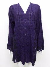 NWT Johnny Was Embroidered V-Neck Button Front Blouse - L - JW15410816