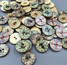 DIY Retro Clocks watches Wooden Buttons 2 hole Sewing Embellishments Mixed 20mm
