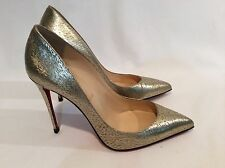 $695 Christian Louboutin Gold Pigalle Follies Metallic Leather Pumps 38 1/2