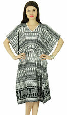 White Paisley Printed Caftan Polyester Bohemian Kaftan Nightwear Dress Long Maxi