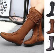Womens Ladies Winter Tassel Mid-calf Suede Knee High Platform Zipper Snow Boots