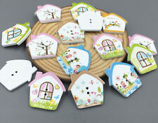 2Hole House Wooden Buttons Mixed color Fit Sewing Scrapbooking decoration 25mm
