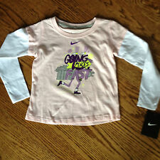 "Nike Girls Shirt size 2T 3T and 4T Pink & White Long Sleeves ""Going Places"" $22"
