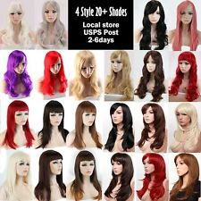 Wigs With Bangs Soft as Real Hair Costume Wig Curly Black Brown Blonde Red White